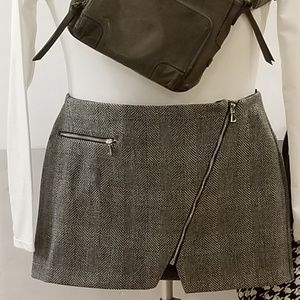 Black and Gray Plaid River Island Wrap Front Skirt
